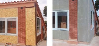 reforma atico barcelona con osb4 y fachada ventilada amroc con carpintería madera