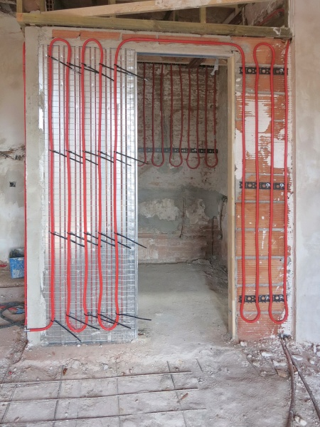 pared radiante tubo flexible en diferentes soportes